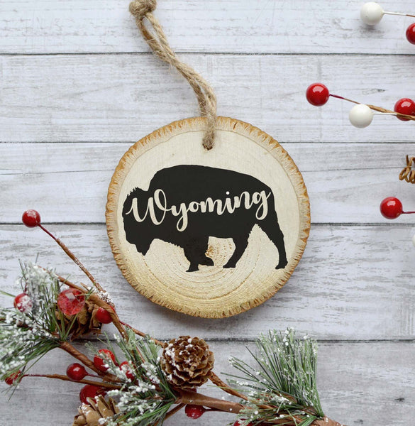 Wyoming Ornament, Christmas Tree Ornament, Natural Pine Wood Slice, Buffalo Ornament Decoration, Gift Idea