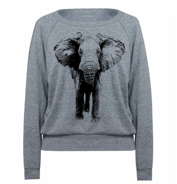 ELEPHANT wide neck Women's Tri-Blend Pullover Raglan - American Apparel - Soft Vintage Feel Light Weight Long Sleeve - Graphic Tees Animal