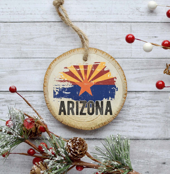 Arizona Christmas Ornament, State Print Ornament, Natural Pine Wood Slice, 2018 Ornament Christmas Tree Decoration, Gift Idea, Woodland Gift