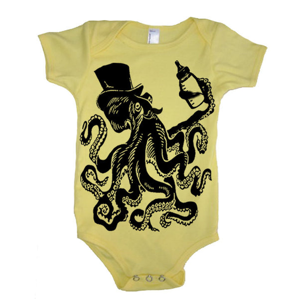 Baby Otto The Octopus And His Bottle Of Milk Bodysuit - American Apparel Made In The USA - 3-6m, 6-12m, 12-18m, 18-24m, (Color Options)