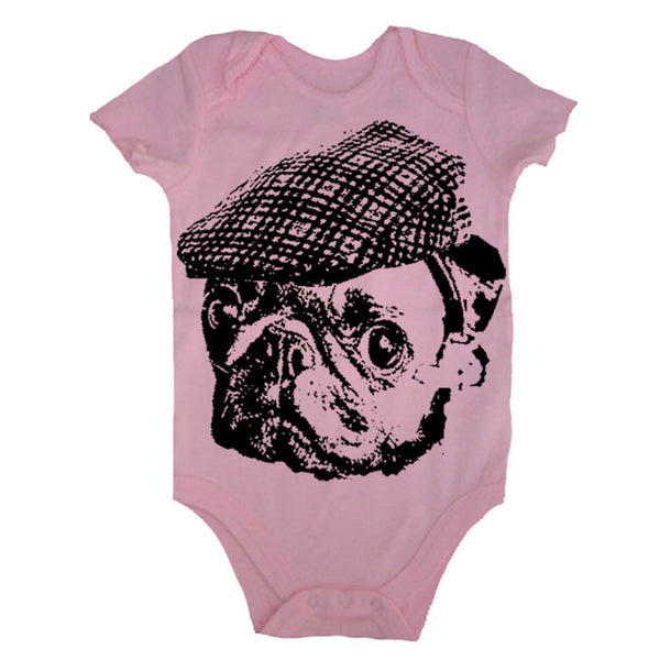 Baby Pug Bodysuit Pug In A Hat Baby T Shirt Pug One Piece Bodysuit Infant T Shirt Newborn Baby 3-6m, 6-12m, 12-18m, 18-24m Pink Baby Girl