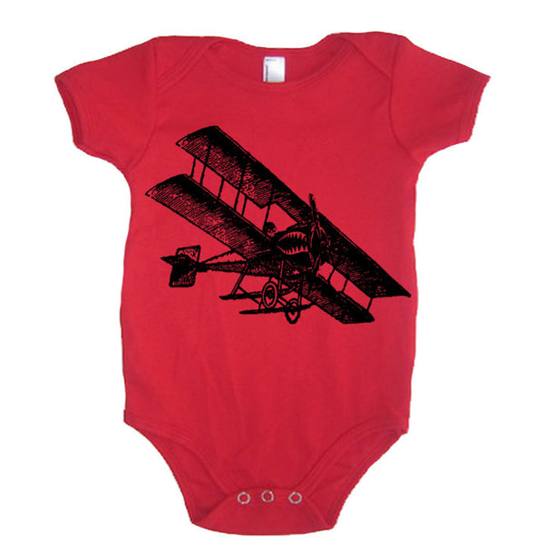 Vintage Fighter Airplane 4th Of July Baby Bodysuit - American Apparel Made In The USA - 3-6m, 6-12m, 12-18m, 18-24m (Color Options)