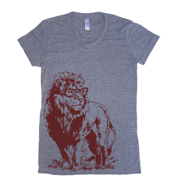 Women's T Shirt Lion Professor T-Shirt - American Apparel Tshirt - S M L Xl (Color Options)