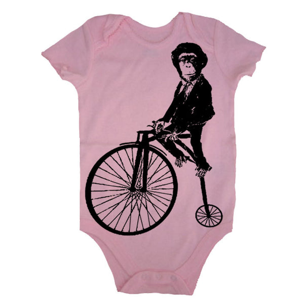 Circus Monkey On A Bike Bodysuit - American Apparel Made In The USA - 3-6m, 6-12m, 12-18m, 18-24m, (Color Options)