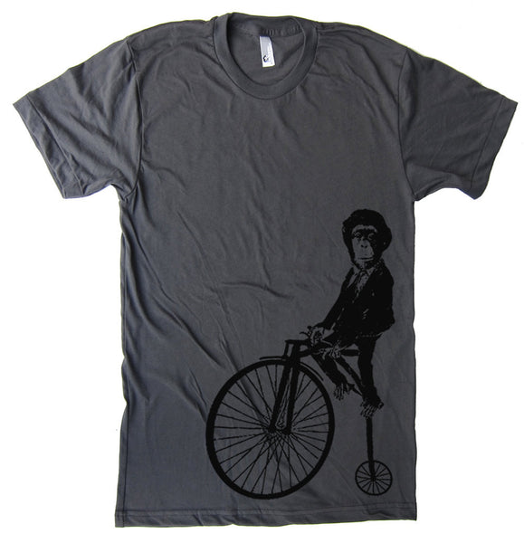 Monkey on a Bike T Shirt - American Apparel Tshirt - XS S M L Xl 2Xl (15 Color Options)