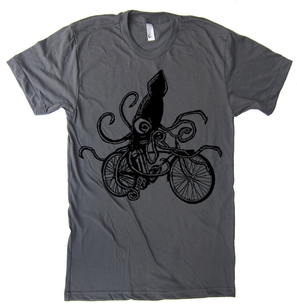 Squid on a Bike T Shirt - American Apparel Bicycle T-Shirt Beach Shirt Tentacles Gifts For Bike Lovers - S M L Xl 2X (15 Color Options)