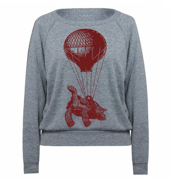 Hot Air Balloon Sweatshirt Lightweight Pullover Turtle Sweater Ladies Steampunk Flying Balloon Gifts For Her Turtle Sweatshirt