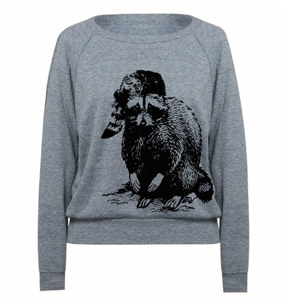 Womens Sweatshirt RACCOON Tri-Blend Raglan Pullover - American Apparel - Light Weight Raglan Vintage Long Sleeve - Funny Raccoon Tee Animal