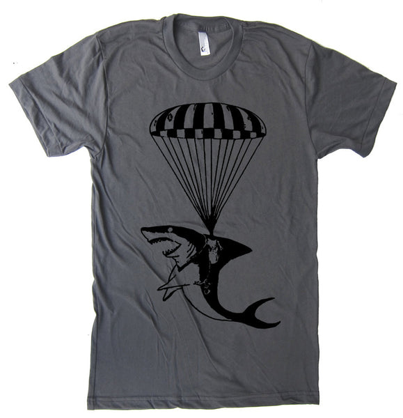 Shark Paratrooper T Shirt - American Apparel Tshirt - S M L Xl 2Xl (15 Color Options)