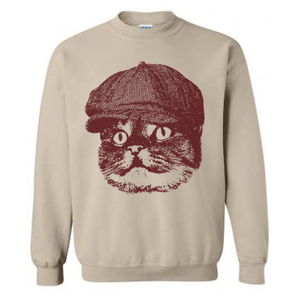 Cat Newsboy Sweater Flex Fleece Pullover Classic Sweatshirt - S M L Xl and Xxl (Color Options)