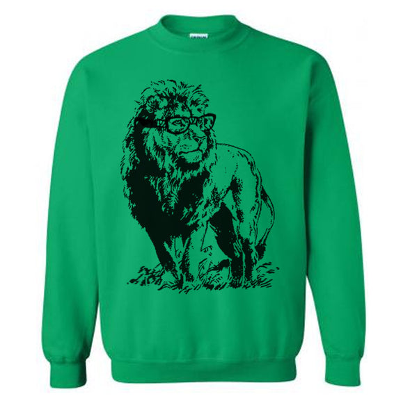 Nerdy Lion Sweater Fleece Pullover Sweatshirt - S M L Xl 2X