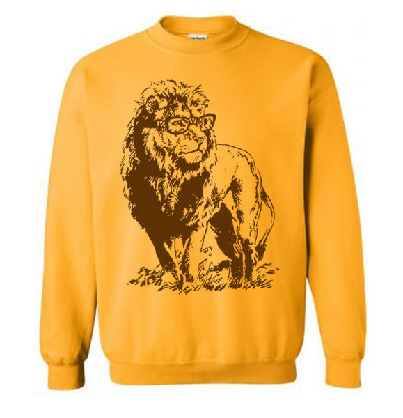 Lion Professor Sweater Flex Fleece Pullover Classic Sweatshirt - S M L Xl and Xxl (12 Color Options)