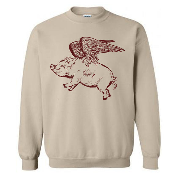 Flying Pig Sweater Flex Fleece Pullover Classic Sweatshirt - S M L Xl and Xxl (15 Color Options)