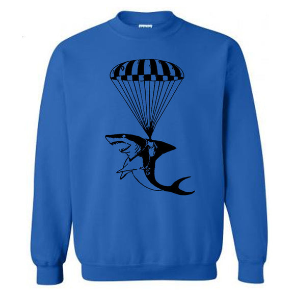 Jaws Parachuting Sweater Funny Shark Sweater Shark on a Parachute Gifts For Guys Funny Gift Ideas Mens Sweatshirt Ladies Sweater Unisex