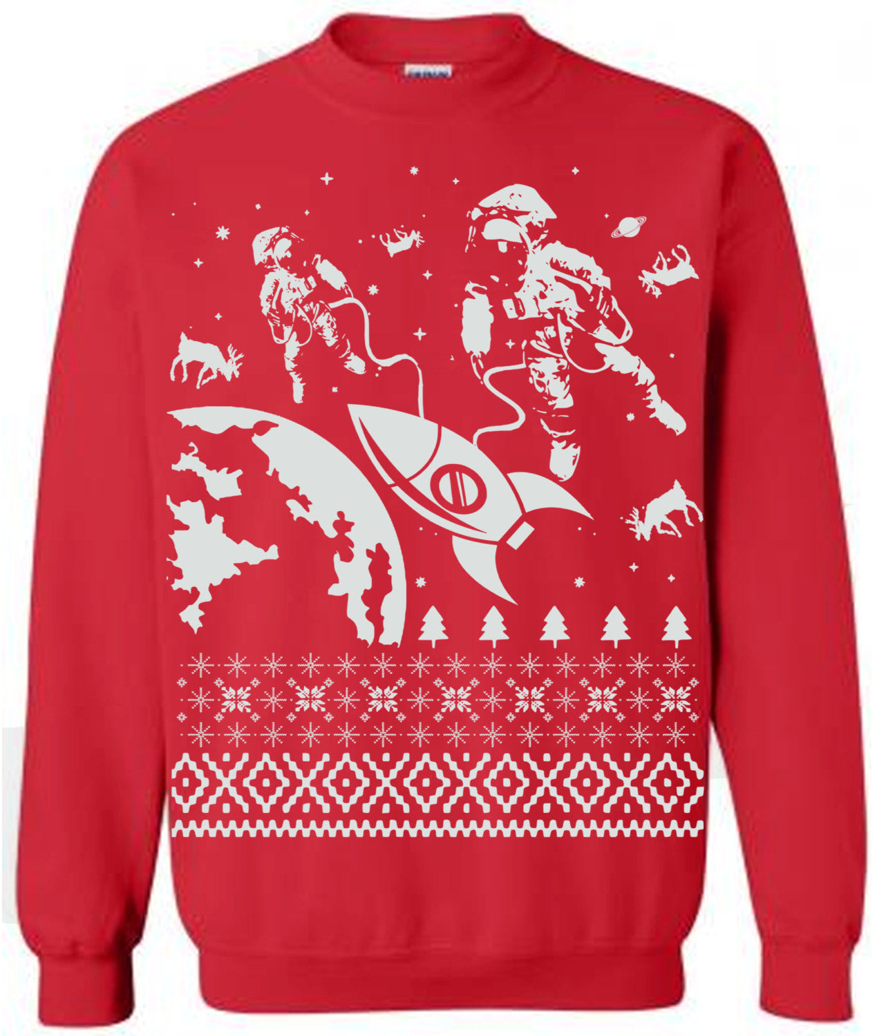 astronauts in outer space ugly christmas sweater flex fleece pullover classic sweatshirt s m l xl and xxl 3 color options - Classic Christmas Sweaters
