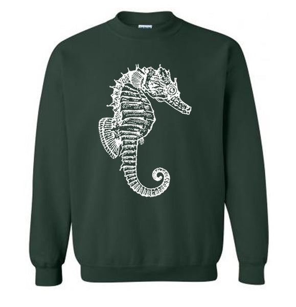 Nautical Seahorse Sweater Flex Fleece Pullover Classic Sweatshirt - S M L Xl and Xxl (Color Options)
