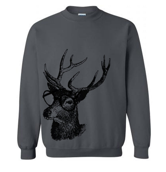 Reindeer Professor Christmas Sweater Flex Fleece Pullover Classic Sweatshirt - S M L Xl and Xxl (15 Color Options)