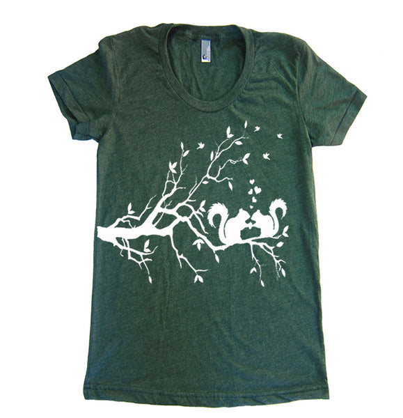 Squirrels In Love T Shirt - Womens American Apparel Tshirt - S M L Xl