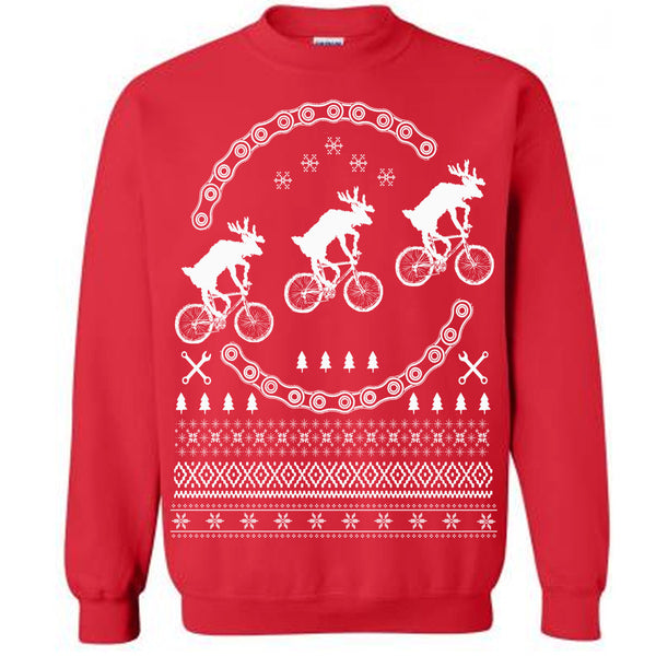 Christmas Ugly Sweater / Reindeers on Bikes Sweatershirt / Fleece Pullover / Size & Color Options
