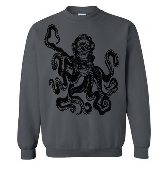 Deep Sea OCTOPUS DIVER Sweater Flex Fleece Pullover Classic Sweatshirt - s m l xl and xxl (14 Color Options)