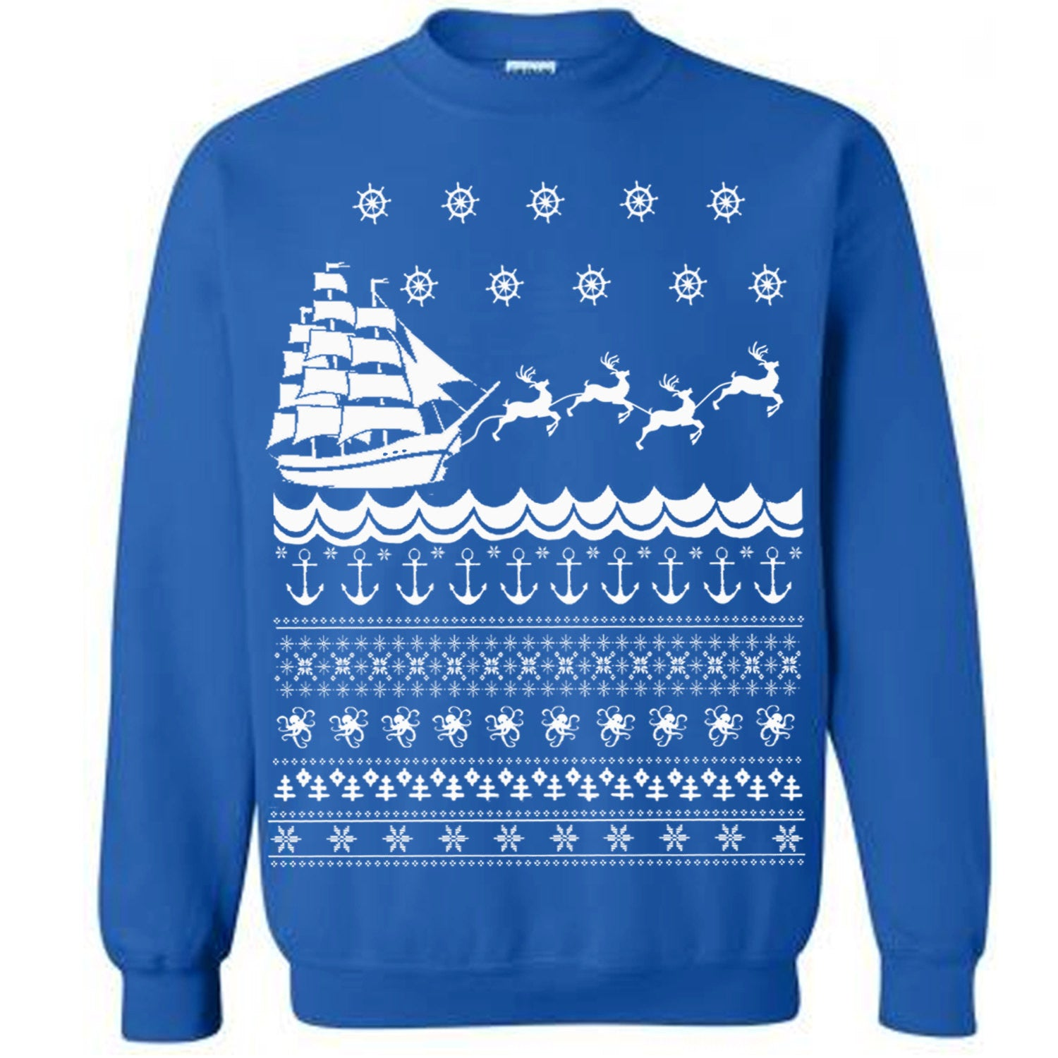 the nautical ugly christmas sweater flex fleece pullover classic sweatshirt s m l xl and xxl 3 color options - Classic Christmas Sweaters
