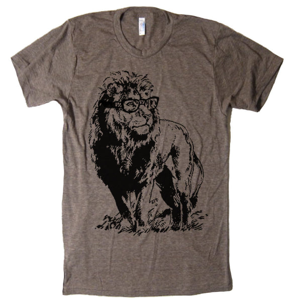 Mens Lion Professor T Shirt - American Apparel Tshirt - S M L Xl 2X (15 Color Options)