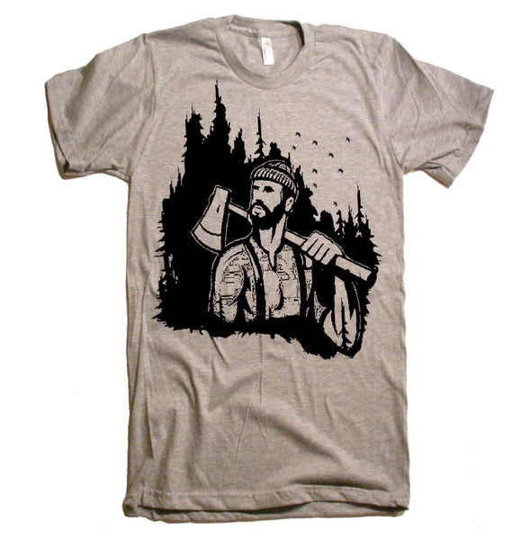 Lumberjack Woodland T Shirt - Mens Woodland Mountaineer T shirt - Gift Ideas - Gifts for him - Husband - Brother - Boyfriend - Guys Mountain