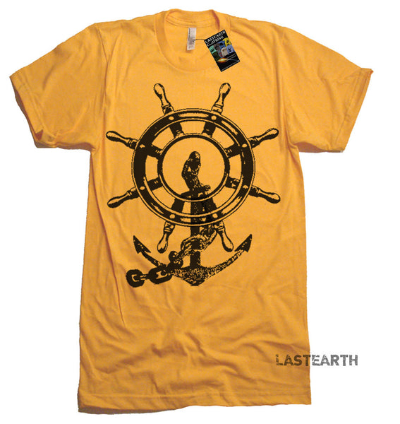 Anchor and Ship Wheel T-Shirt - mens American Apparel Tshirt - S M L Xl 2X (15 Color Options)