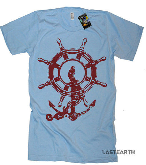 Mens Anchor Ship and Wheel Nautical T Shirt - American Apparel Tshirt tee - S M L Xl 2X