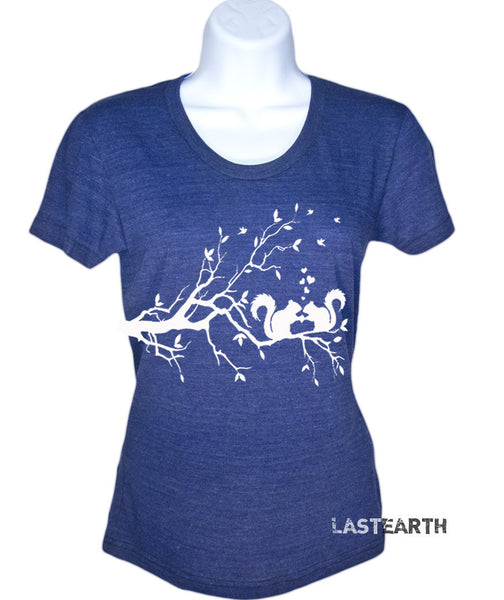Womens Squirrels In Love T-Shirt - Squirrel Shirt - Anniversary Gift - Gift For Her - Tree Tee - S M L Xl 2X