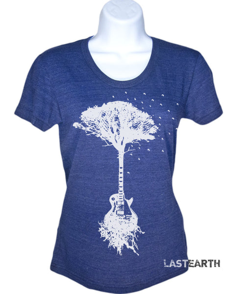Guitar Tree Roots Music T Shirt Womens Mens Ladies Guys Gifts For Her Him Gift Ideas Present Guitarist Musician Punk Retro Rock N Roll Tees