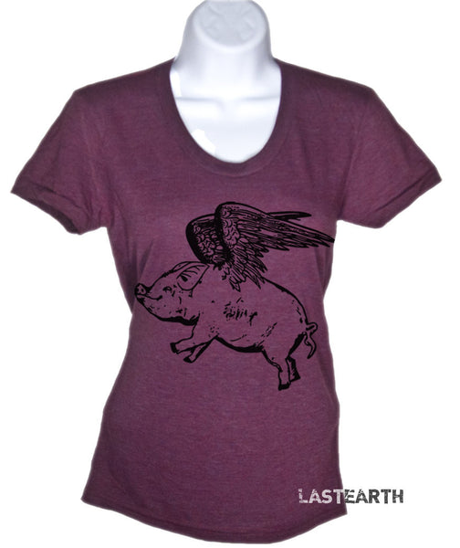 Women's T Shirt Flying Pig TShirt - American Apparel T-Shirt - S M L Xl (15 Color Options)