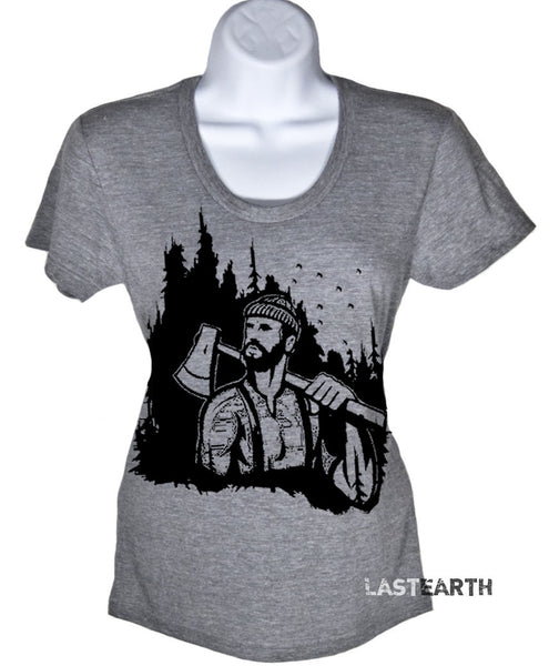 Lumberjack Woodland T-Shirt - American Apparel womens Tshirt - S M L Xl (20 Color Options)