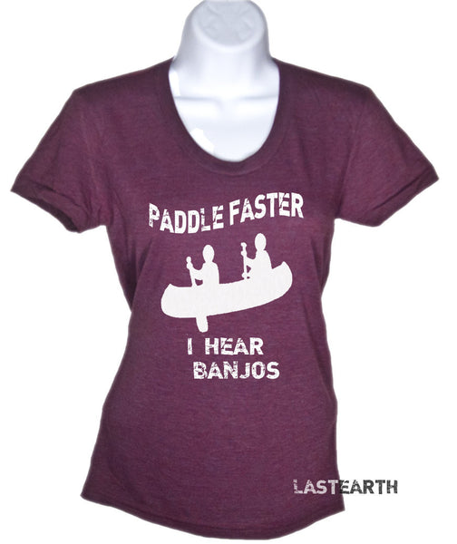 Womens Paddle Faster I Hear Banjos Funny T Shirt - American Apparel Tshirt - S M L Xl (7 Color Options)