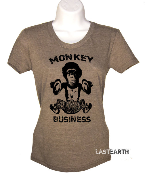 Womens Monkey Business T-shirt - Music Monkey Shirt - Chimpanzee Tee- Gift - Funny Tshirt - S M L Xl 2X