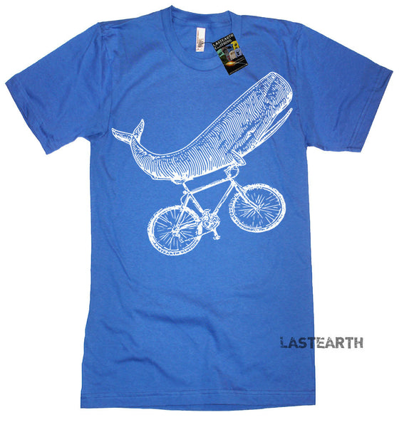 Whale on a Bike T Shirt - American Apparel Tshirt - XS S M L Xl 2Xl (Color Options)