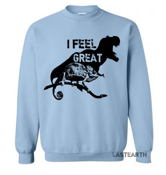 I Feel Great Sweater Happy Dinosaur Sweatshirt Chameleon Pullover Lizard Sweater Gifts Reptile Sweatshirt Funny Chameleon Sweater