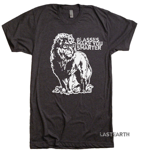 Glasses Make You Smarter T Shirt Funny T Shirt Lion T Shirt Book Reading T Shirt Geek T Shirt Animal T Shirts Nerds T Shirt Mens T Shirt