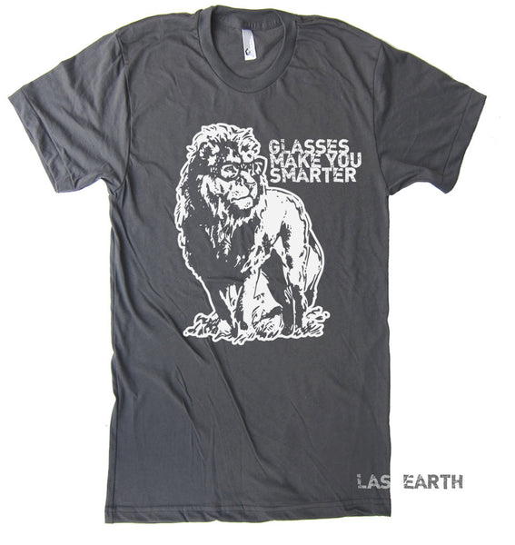 Lion with Glasses Tshirt Glasses Make You Look Smarter Funny T Shirt - American Apparel - S M L Xl 2Xl