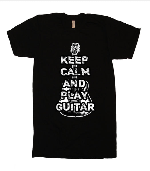 Men's Guitar T-Shirt Keep Calm and Play Guitar T Shirt Music Shirt Band T shirt Musician Guitarist Gifts For Him Boyfriend Dad Husband Tee