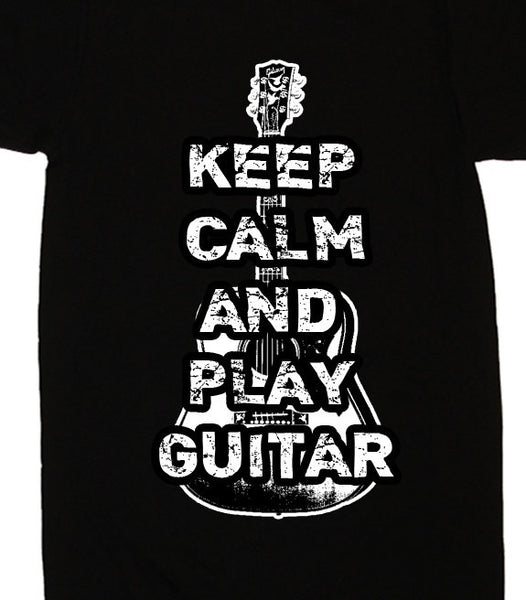 Guitar T-Shirt Keep Calm and Play Guitar T Shirt - Funny Guitar T Shirt - Mens Womens Punk Novelty Gifts - Musician Guitar Player Tee Shirt