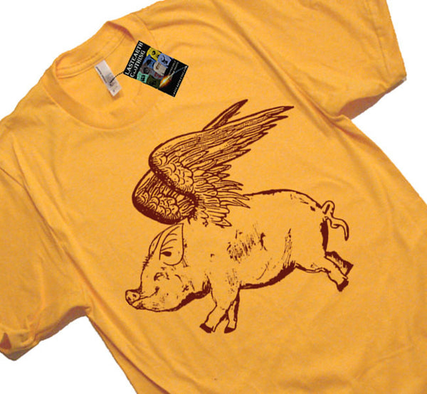 Flying Pig T Shirt - American Apparel Tshirt - S M L Xl 2X (7 Color Options)