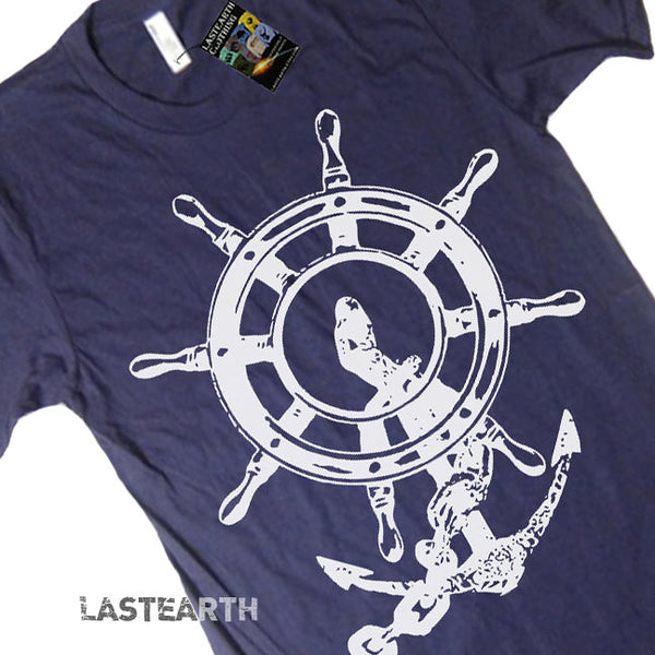 Anchor and Wheel T Shirt - American Apparel Tshirt - XS S M L Xl 2Xl (9 Color Options)