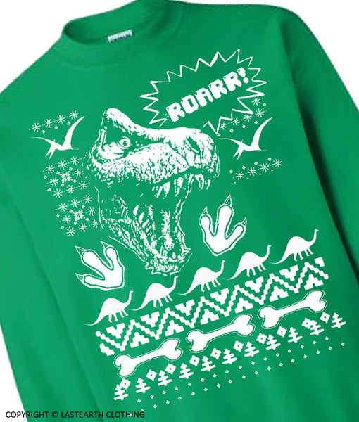 On Sale - Dinosaur Ugly Christmas Sweater Trex Sweater Winter Sweater Fleece Pullover Sweatshirt