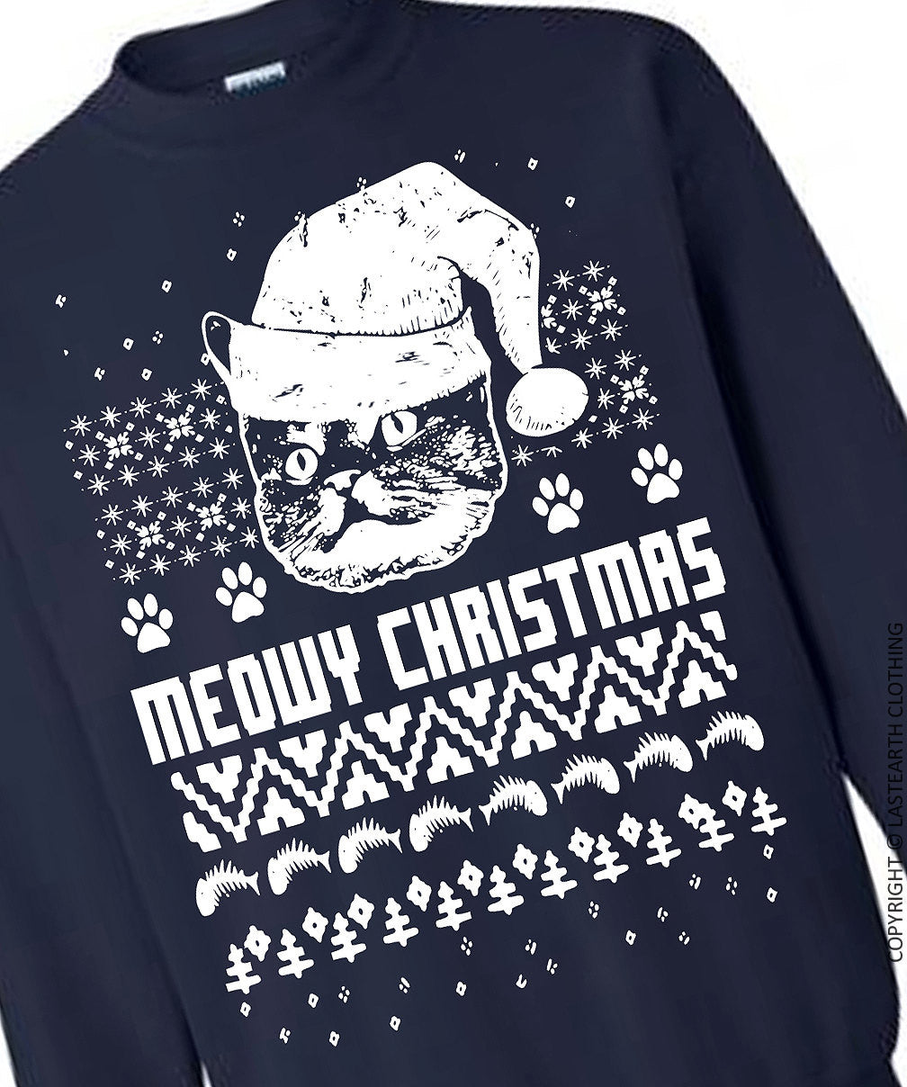 Ugly Christmas Sweater Cat.Cat Christmas Sweater Cats Ugly Christmas Sweater Fleece Pullover Sweatshirt S M L Xl 2x