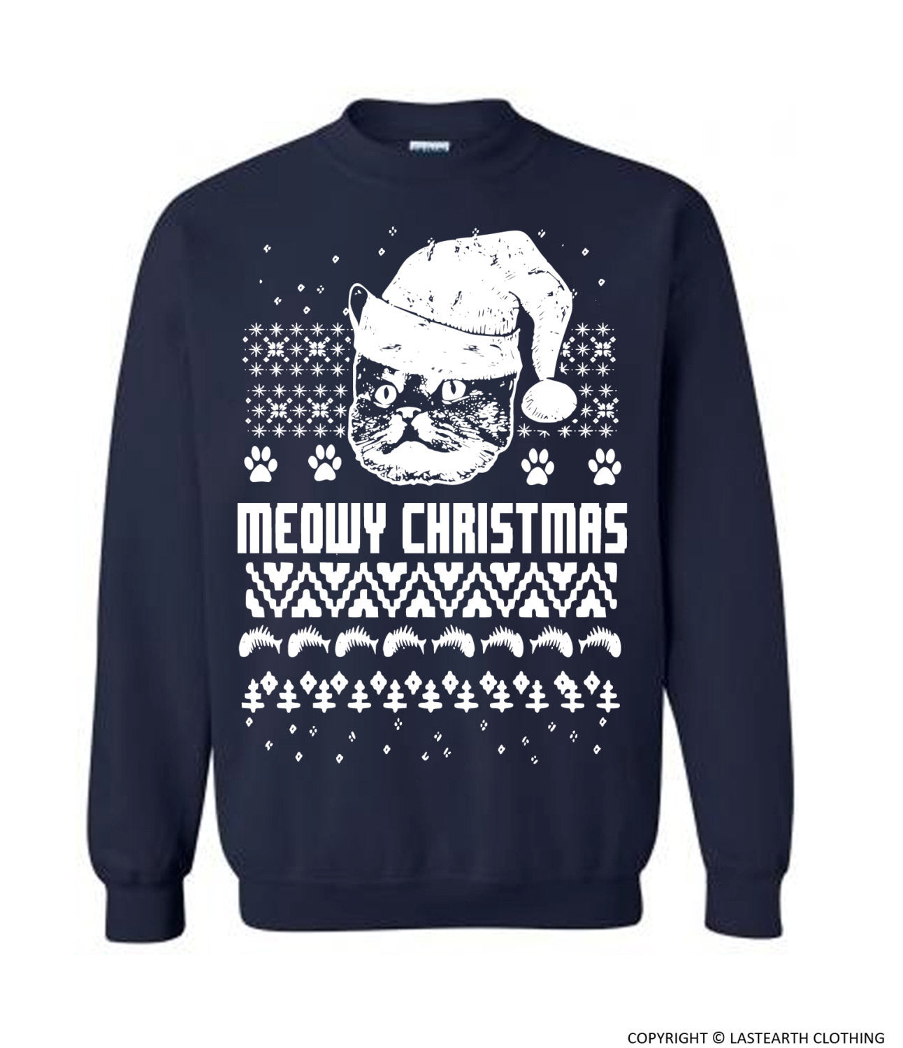 ce9eeae40729 Cat Christmas Sweater Cats Ugly Christmas Sweater Fleece Pullover ...