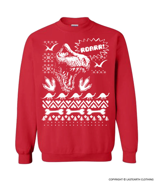 Dinosaur Christmas Ugly Sweater Trex Ugly Christmas Sweater Fleece Pullover Sweatshirt - S M L Xl 2X