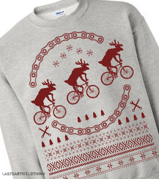 Reindeer on Bikes Christmas Sweater