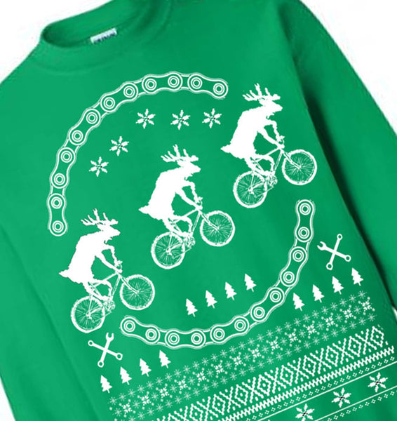 Christmas Ugly Sweater / Reindeers on Bikes Sweatershirt / Flex Fleece Pullover / Size & Color Options