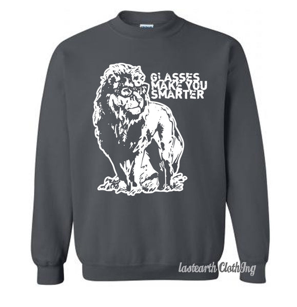Lion Professor Sweater Nerdy Glasses Make You Smarter Fleece Pullover Sweatshirt - S M L Xl 2X